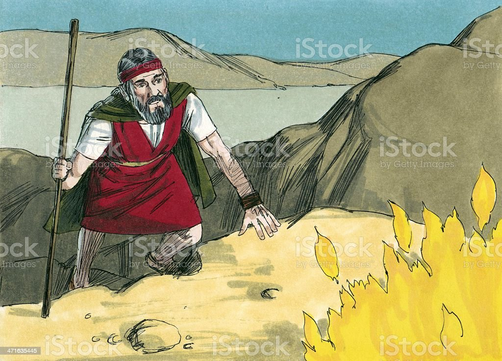 Moses Finds Burning Bush stock photo