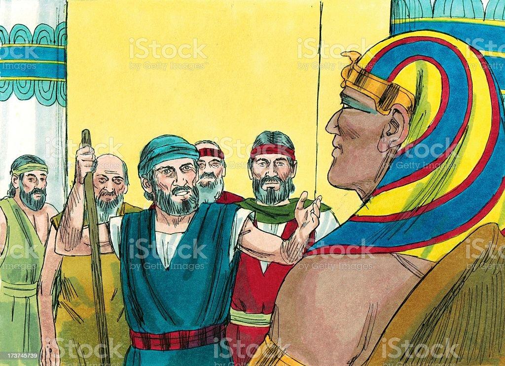 Moses, Hebrew Men, and Pharaoh stock photo