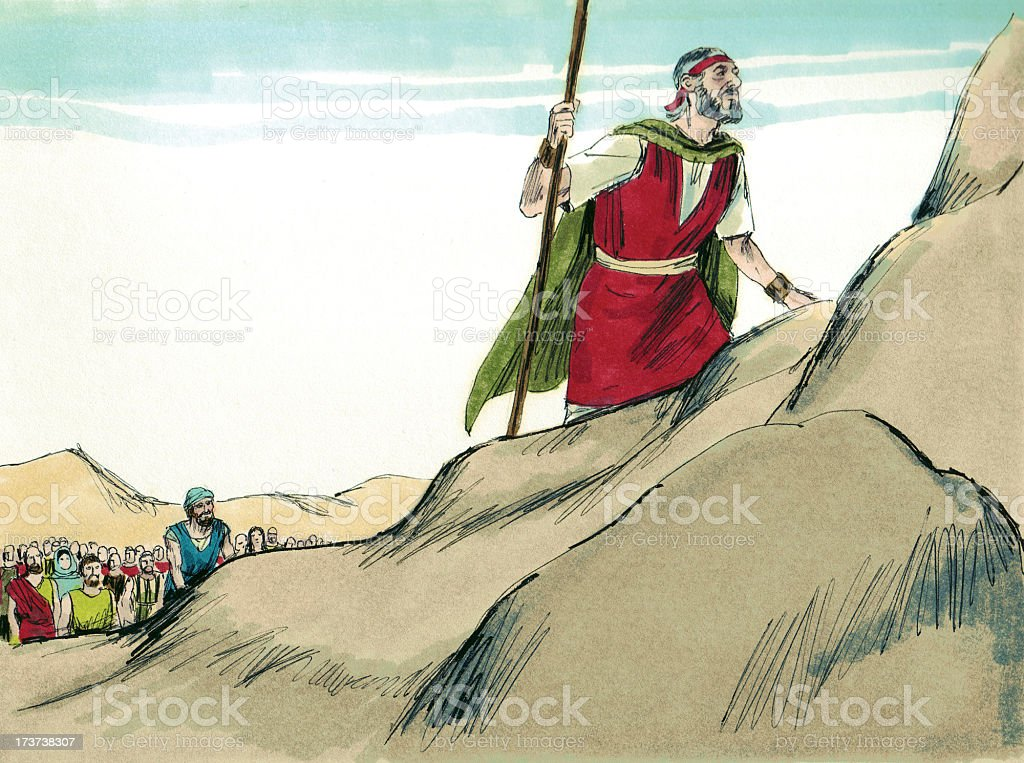 Moses, Israelites, and Mountain stock photo