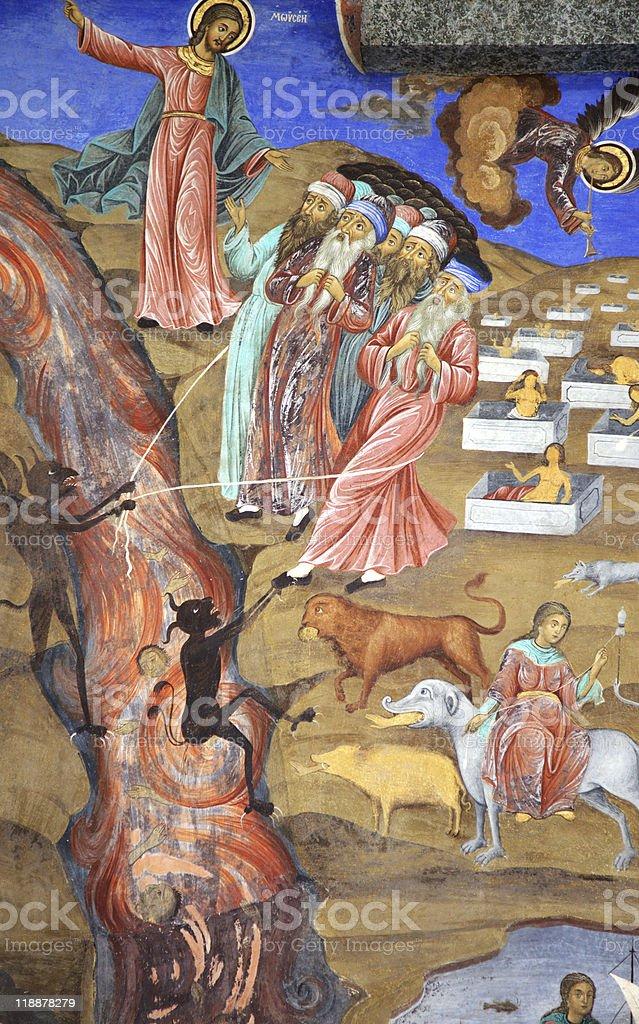 Moses monastery fresco stock photo