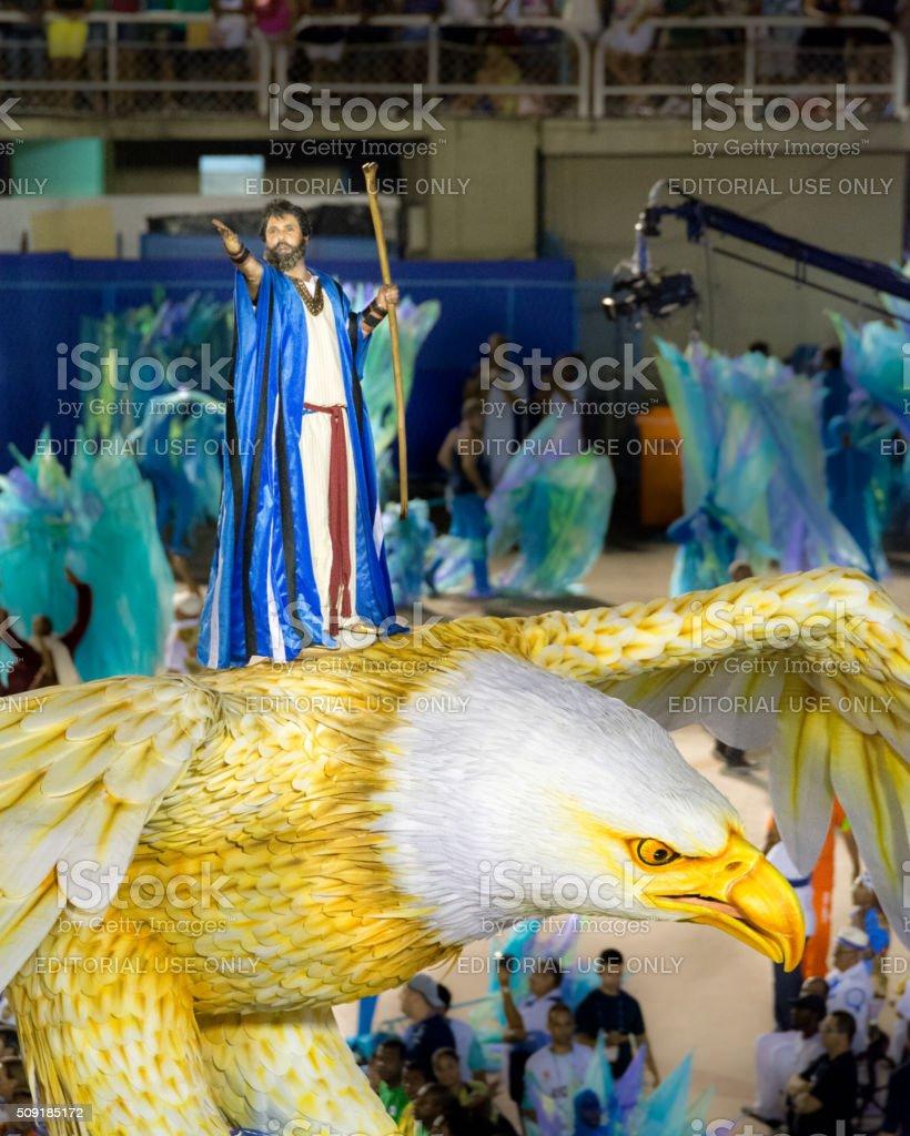 Moses riding an eagle stock photo