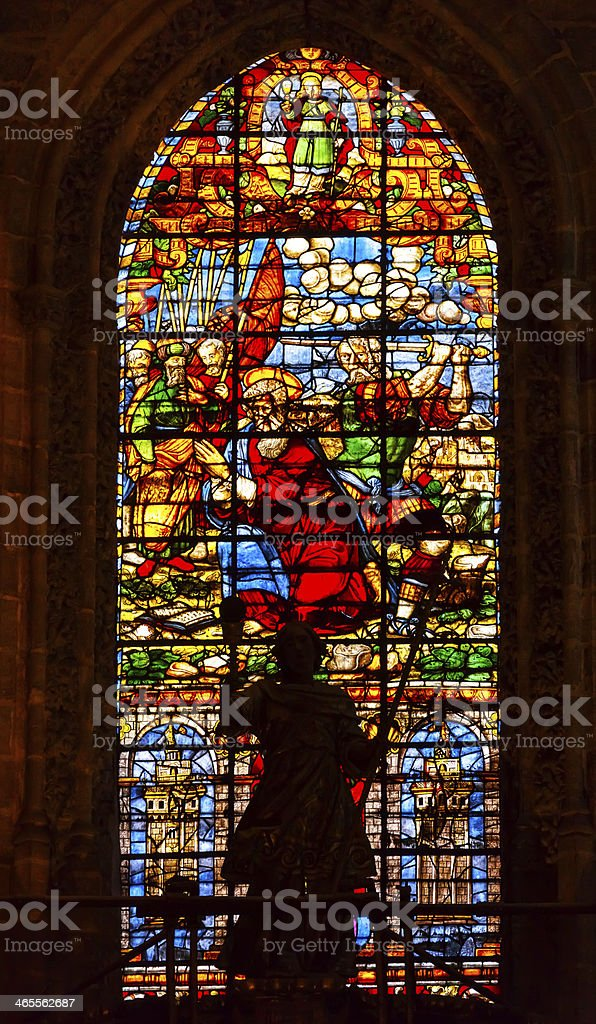 Moses Stained Glass Angel Statue Seville Cathedral Spain royalty-free stock photo