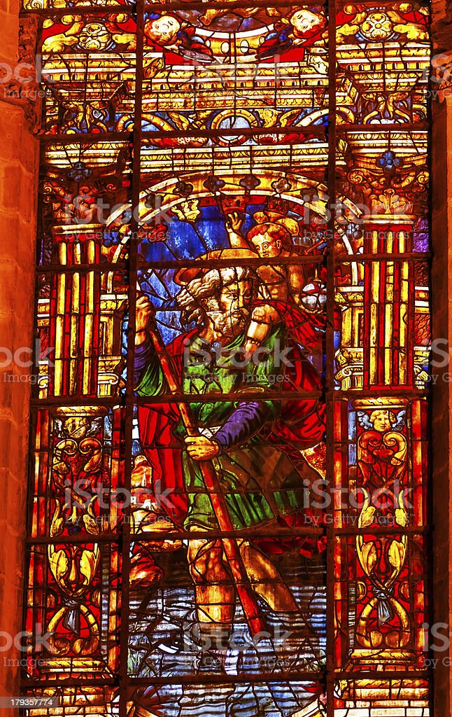 Moses Stained Glass Seville Cathedral Andalusia Spain royalty-free stock photo
