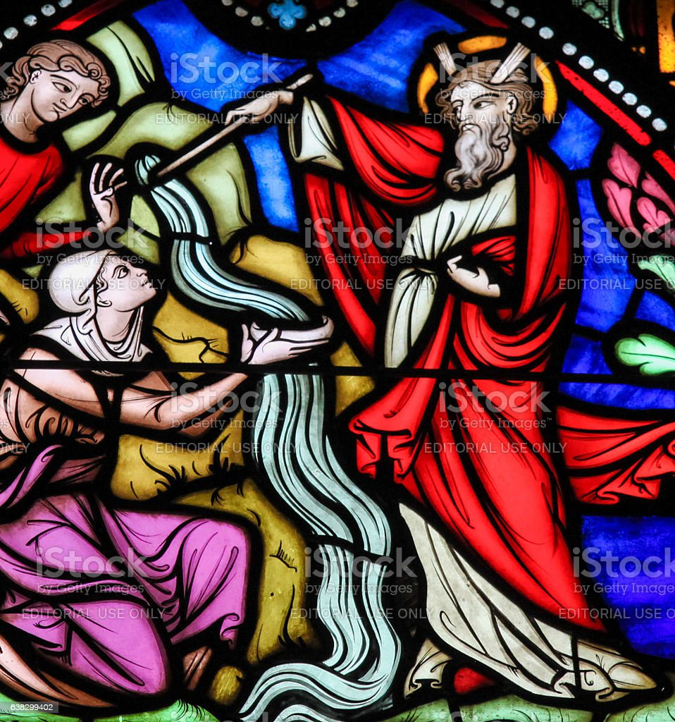 Moses striking Water from the Rock - Stained Glass stock photo