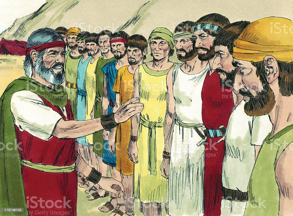 Moses Talks with Israelite Men stock photo