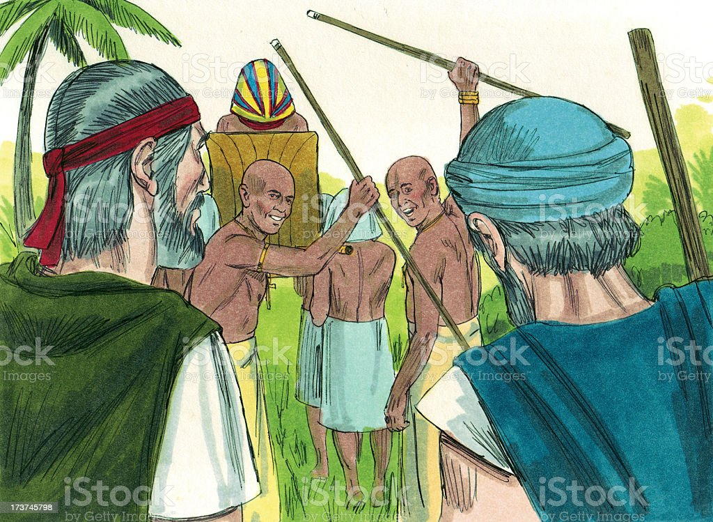 Moses Watches Pharaoh Leave stock photo