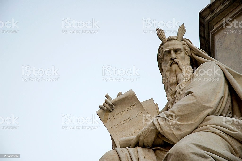 Moses with the Ten Commandments stock photo