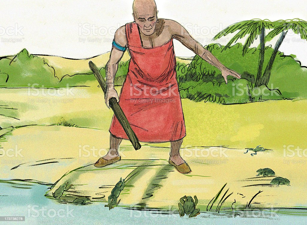 Moses--Egyptian Man and Frogs stock photo