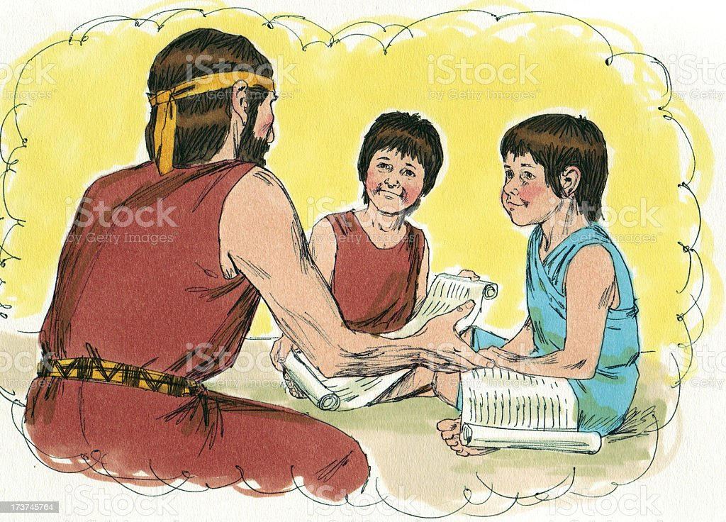 Moses--Father and Children stock photo