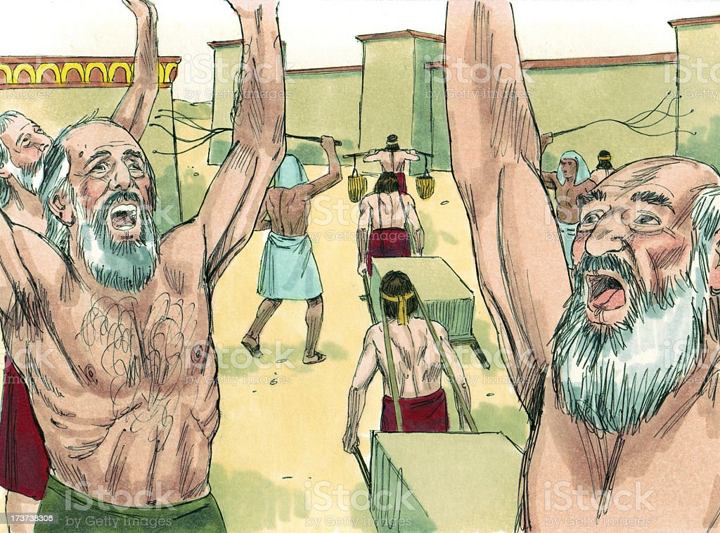 Moses--Hebrews in Egypt Cry Out to God stock photo