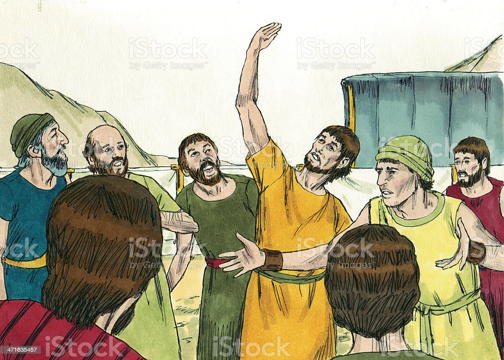 Moses--Israelites Unhappy stock photo