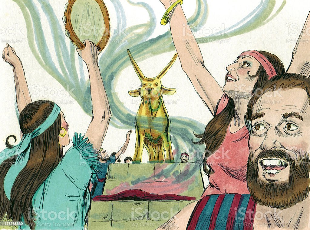 Moses--Israelites Worship Ido stock photo