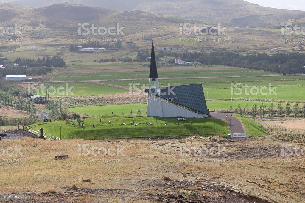 Mosfellskirkja, one of the many Icelandic churches. stock photo