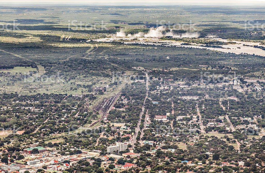 Mosi-oa-Tunya (Victoria Falls) and Livingstone city, Zambia, Africa stock photo