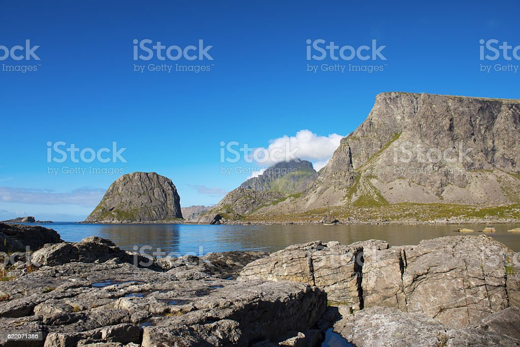 Moskenesøya, Lofoten Islands, Norway stock photo