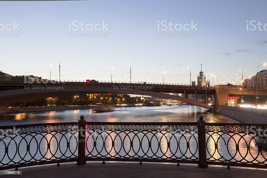 Moskva River in night. Moscow, Russia royalty-free stock photo
