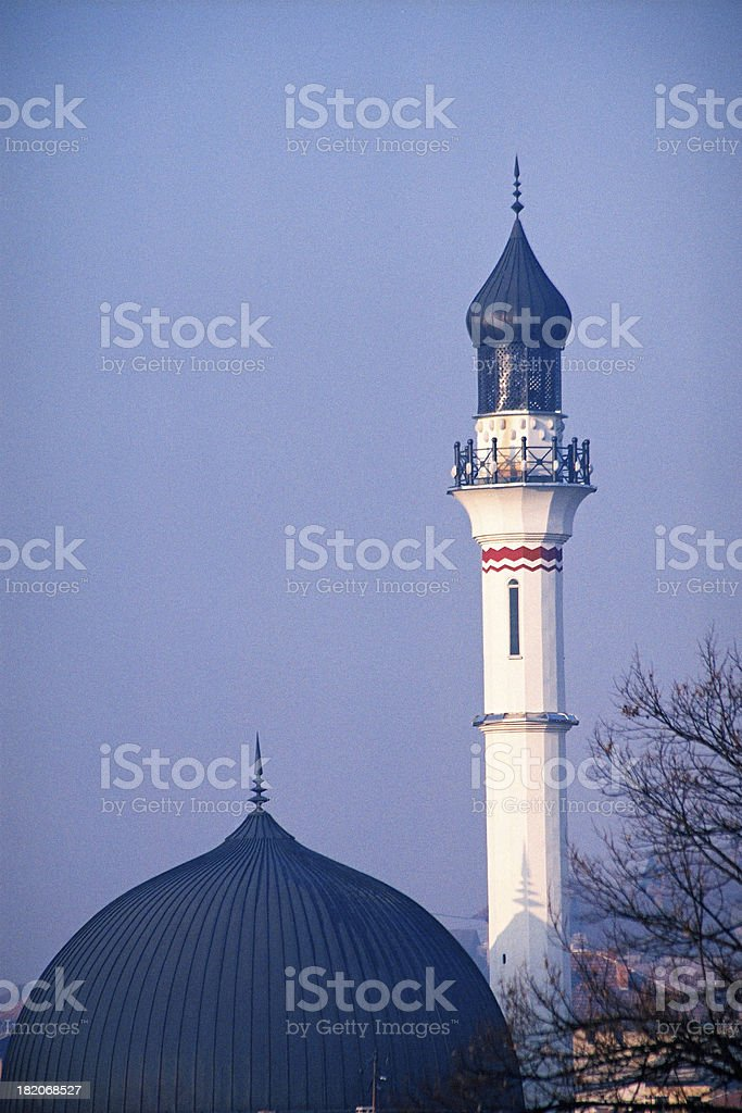 Mosque against clear blue sky royalty-free stock photo