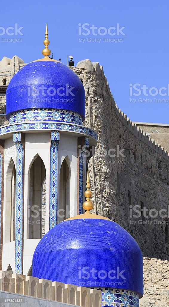 Mosque and Al-Mirani fort at the Sultan's Palace royalty-free stock photo