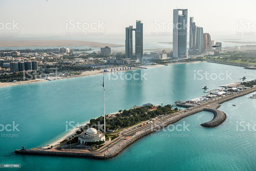 Mosque and coastline in Abu Dhabi stock photo