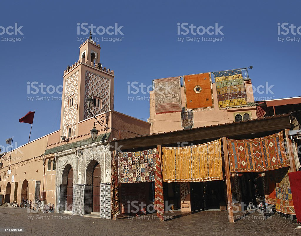 Mosque at Djemaa El-fna Square stock photo