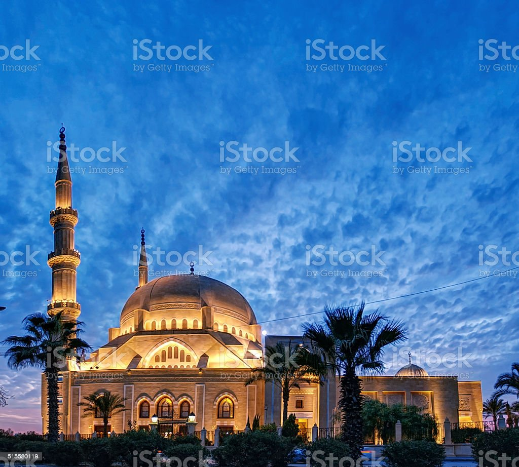 Mosque at Dusk In Sidon South Lebanon stock photo