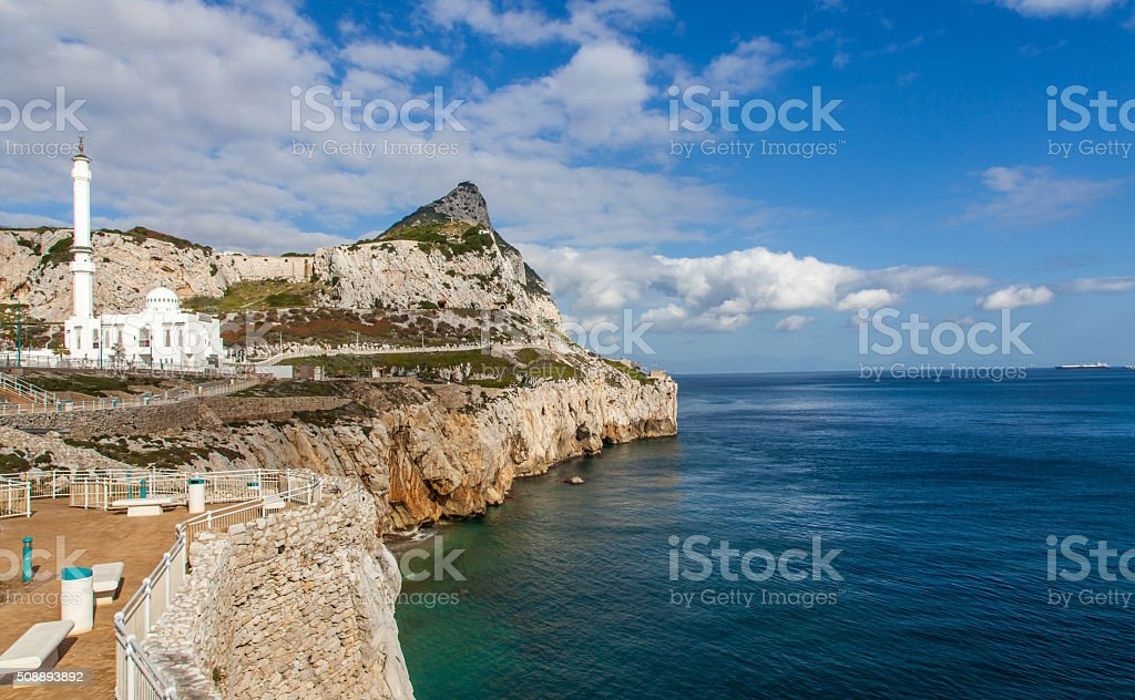 Mosque at Europa Point Gibraltar and the monkeys rock stock photo