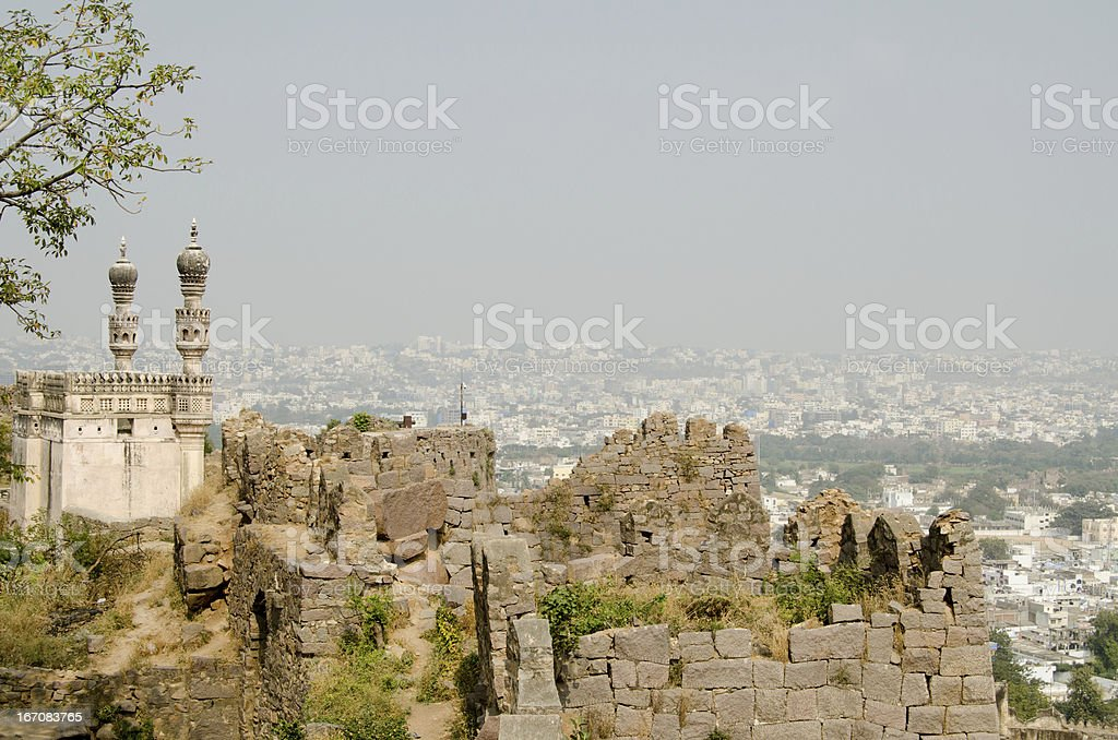 Mosque at Golcanda Fort, Hyderabad stock photo