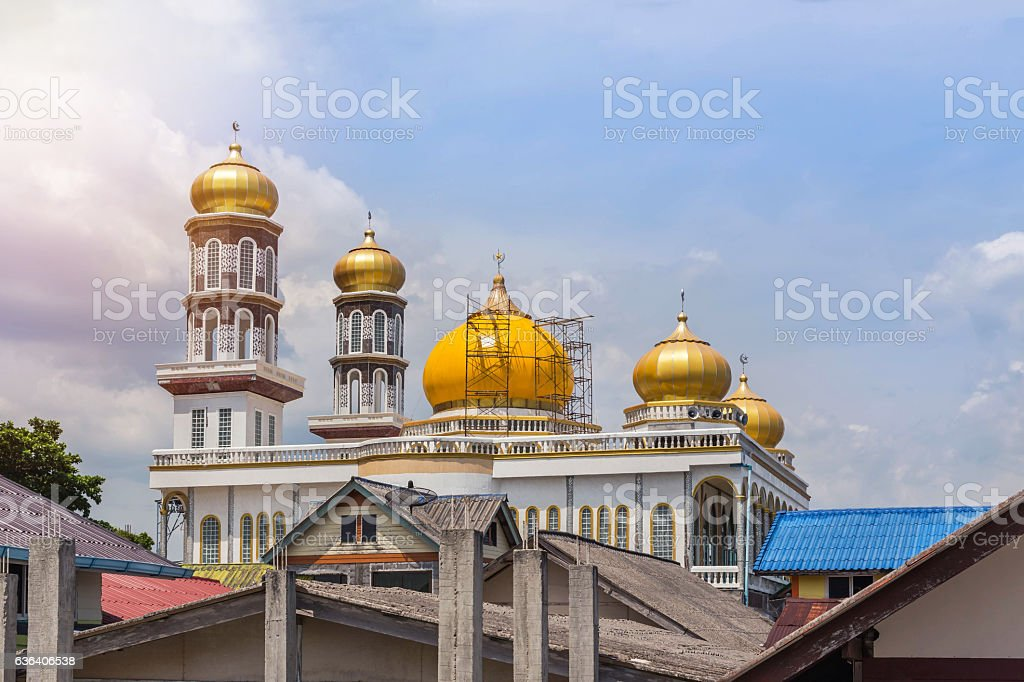 mosque at koh panyee village floating in thailand stock photo