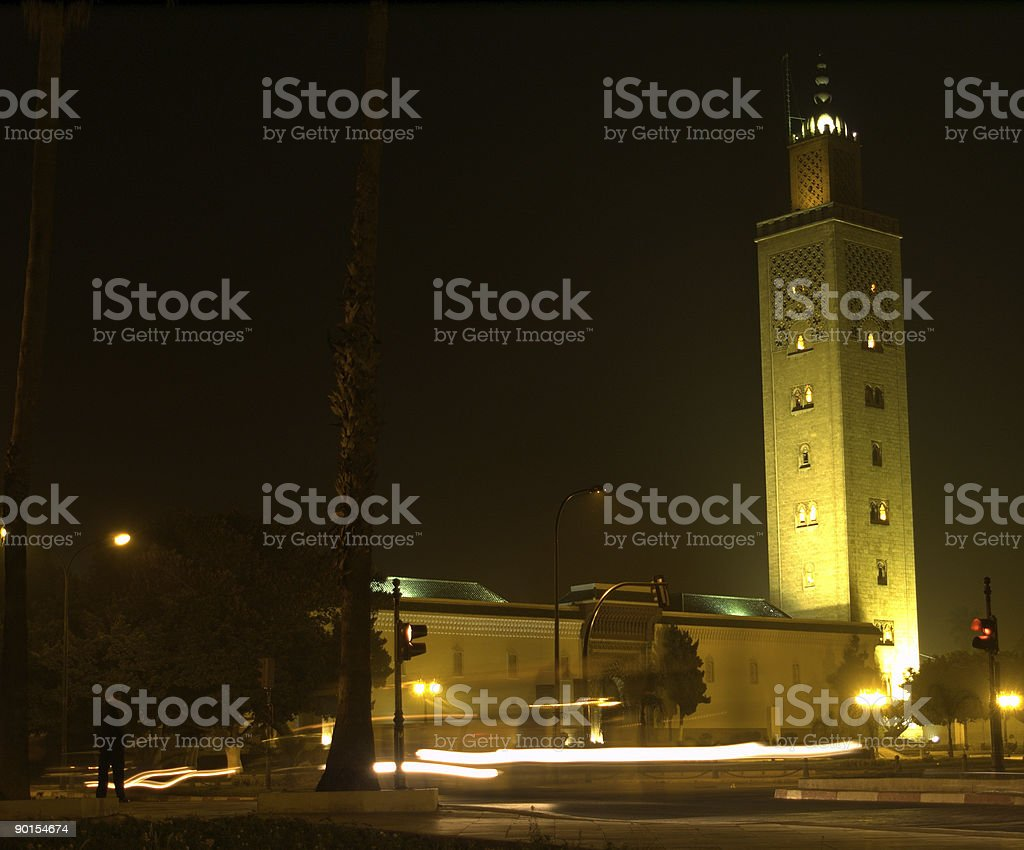 Mosque at Night w/Traffic Blur stock photo