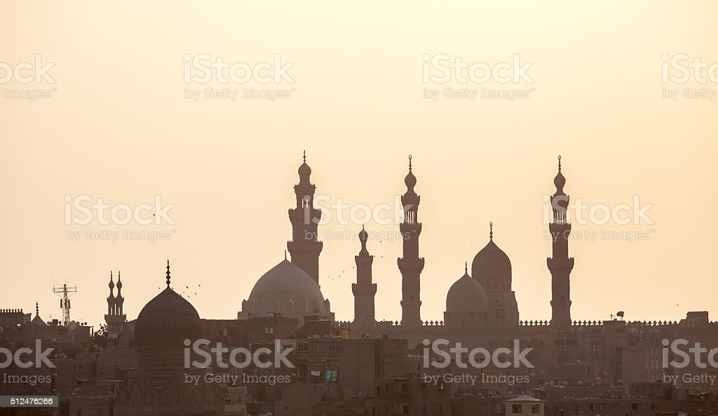 Mosque at silhouette stock photo