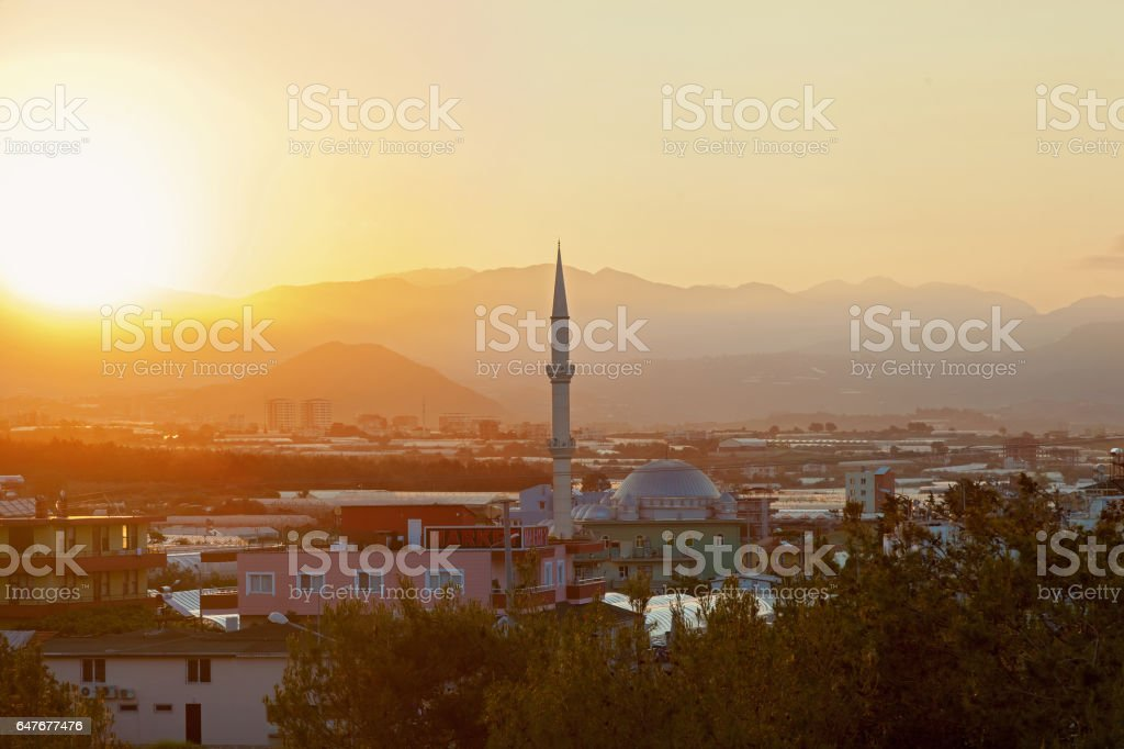 Mosque at sunrise stock photo