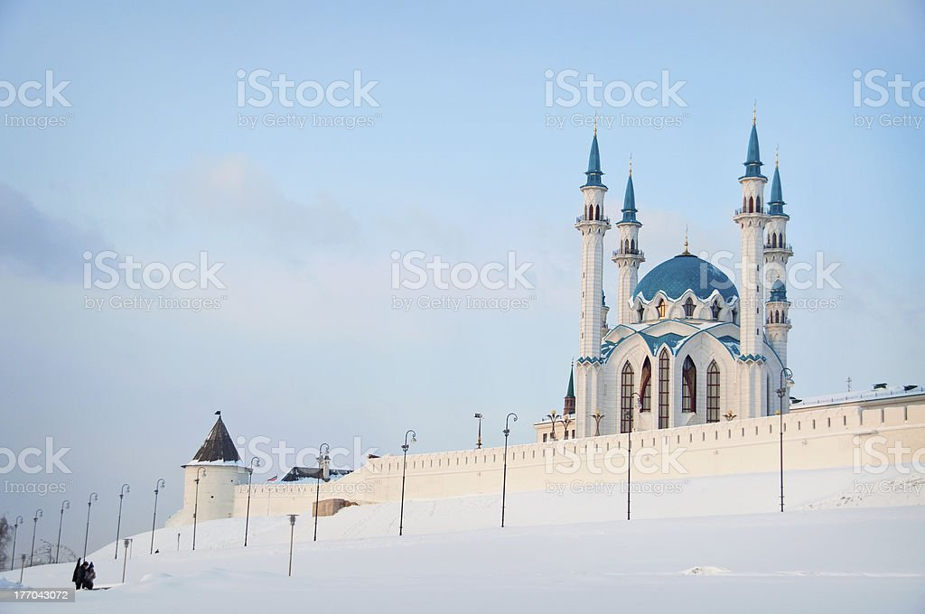 Mosque at winter sunset stock photo