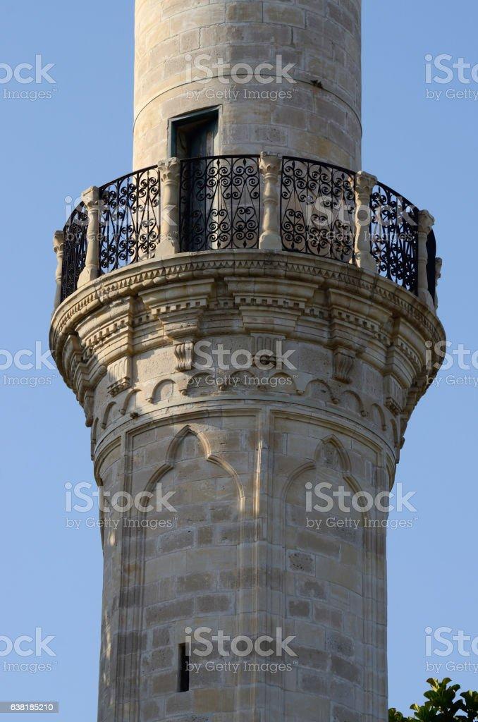 Mosque balcony where mouezzin is singing during namaz, Larnaca ,Cyprus stock photo