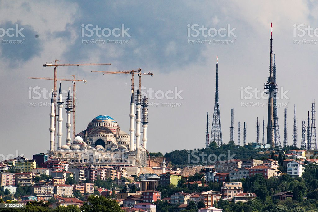 Mosque being restored in Instanbul, Turkey stock photo