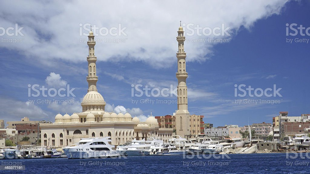 mosque by the sea stock photo