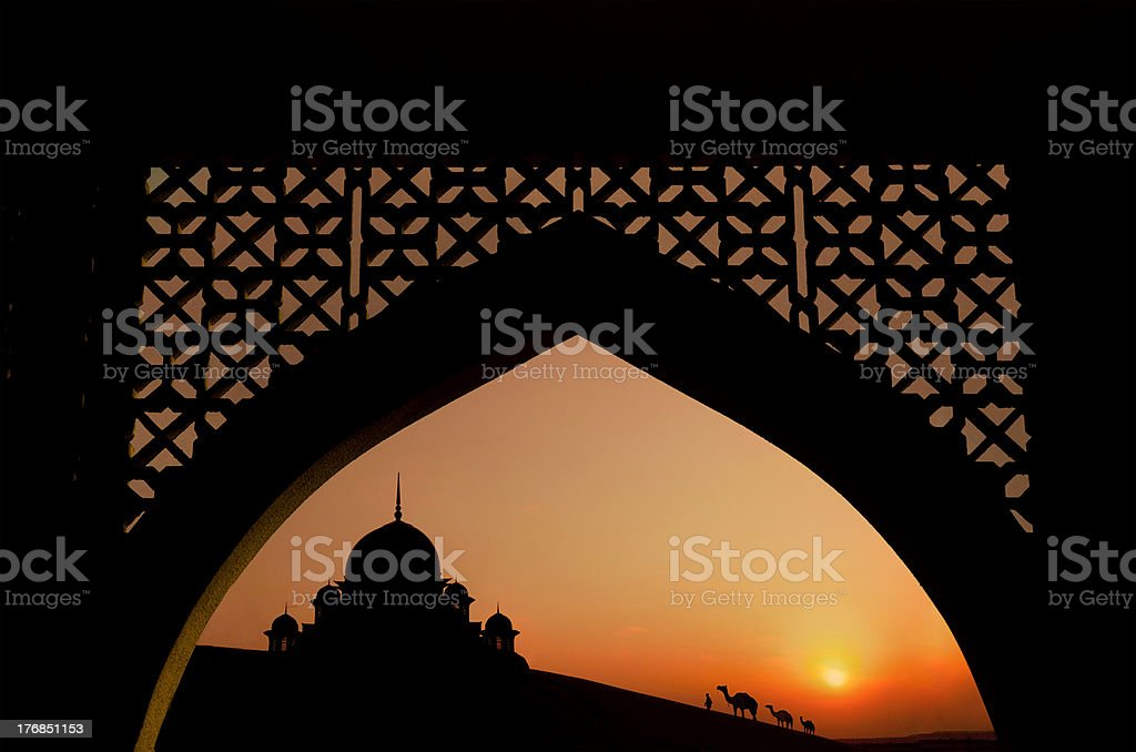 mosque during ramadan month stock photo