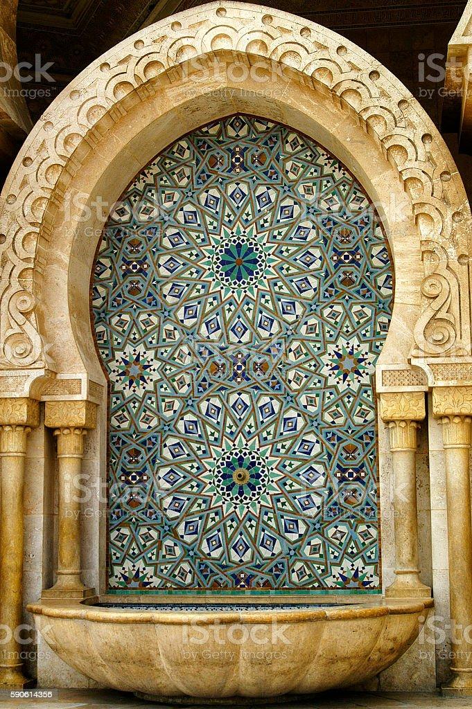 Mosque fountain in Casablanca stock photo