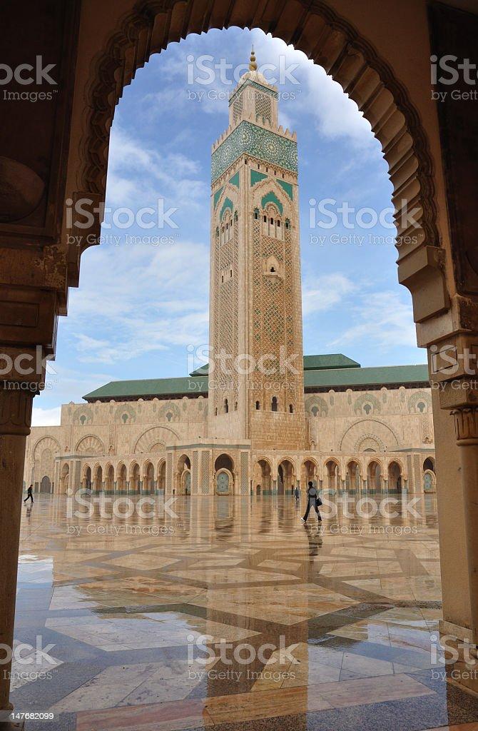 Mosque Hassan II in Casablanca seen through a doorway stock photo