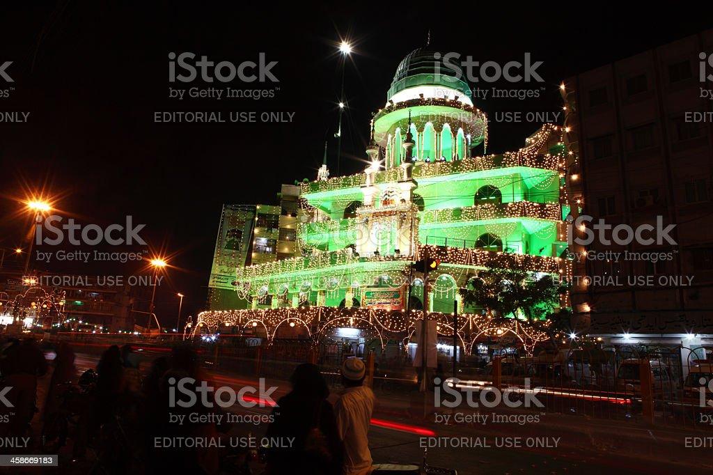Mosque Illuminated on Last Prophet Mohammad (PBUH) Birth Celebra royalty-free stock photo