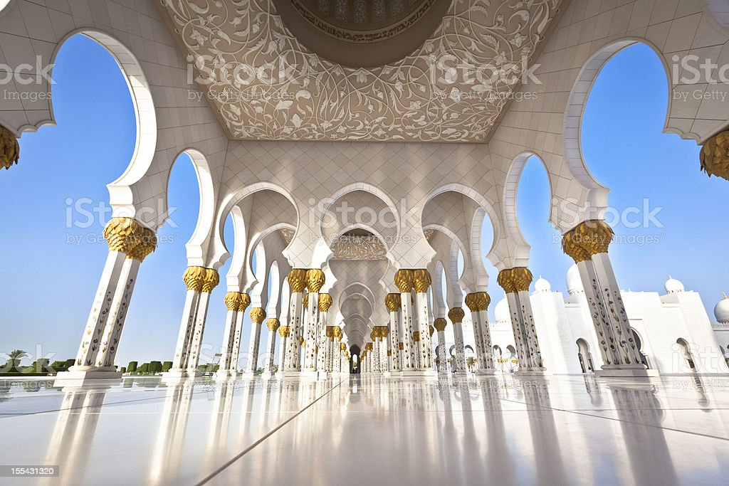 Mosque in Abu Dhabi with white pillars stock photo