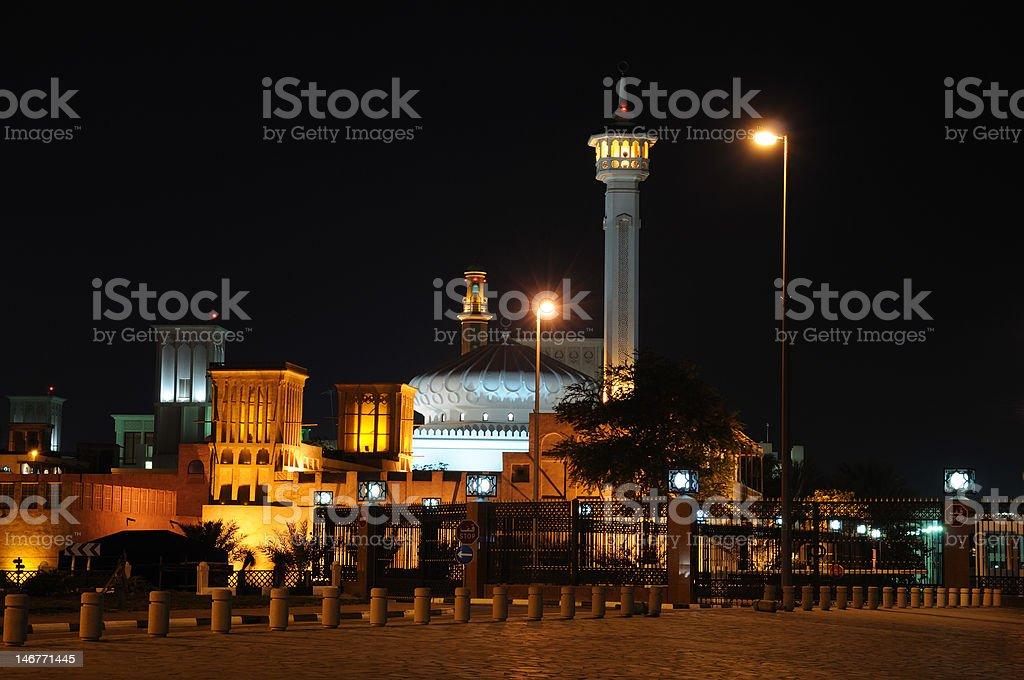 Mosque in Bur Dubai illuminated at night royalty-free stock photo