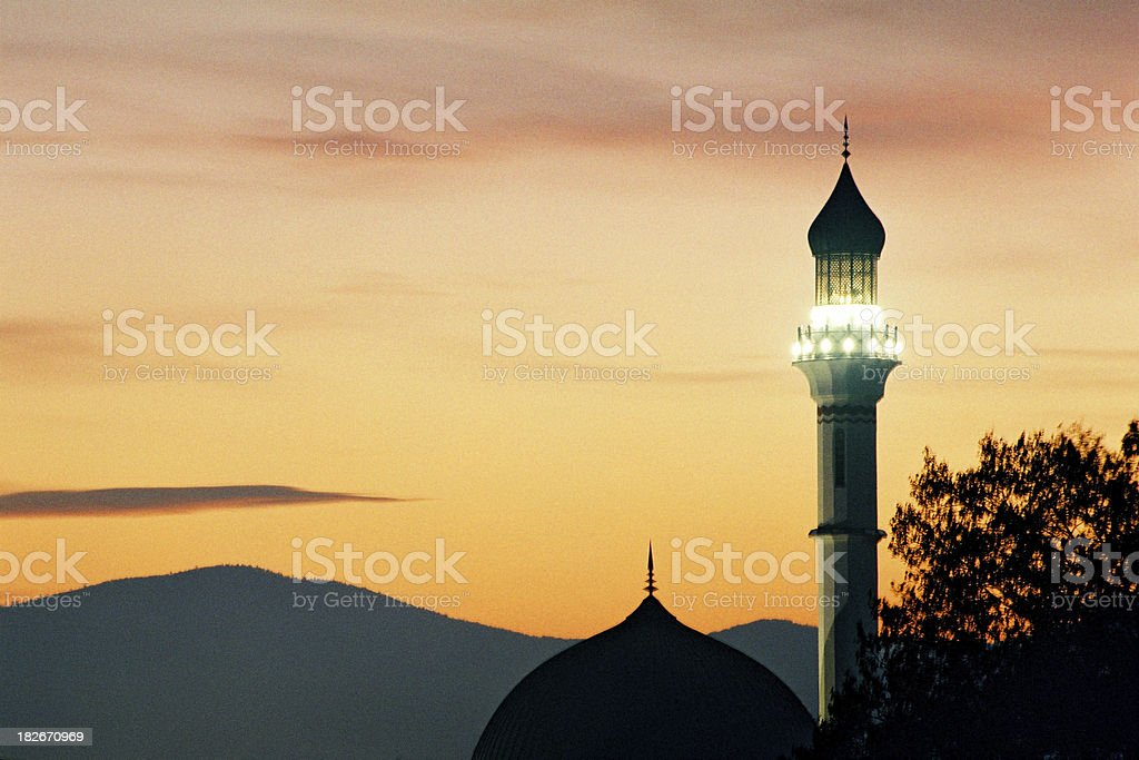 Mosque in dusk stock photo