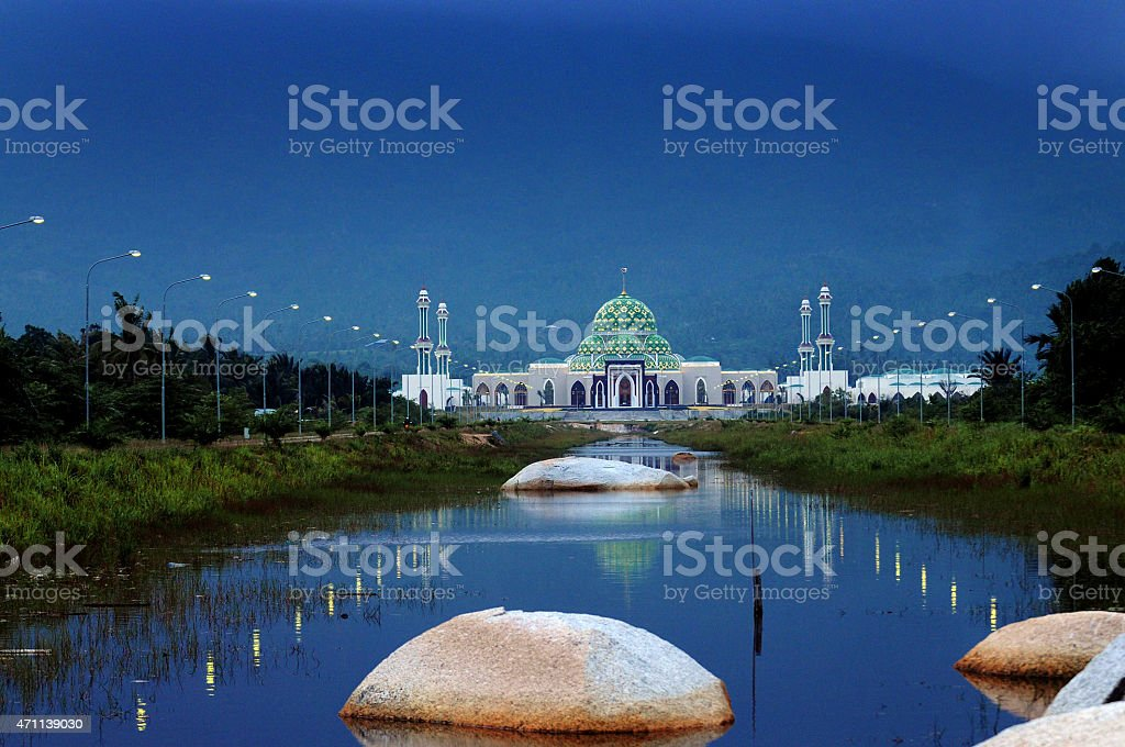 Mosque in Natuna Island Indonesia stock photo