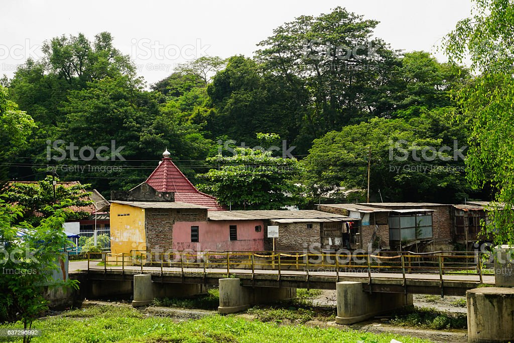 mosque in the middle of slums photo taken in Semarang stock photo