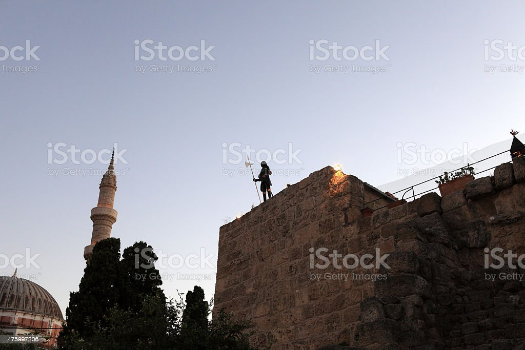 Mosque of Soliman and knight stock photo