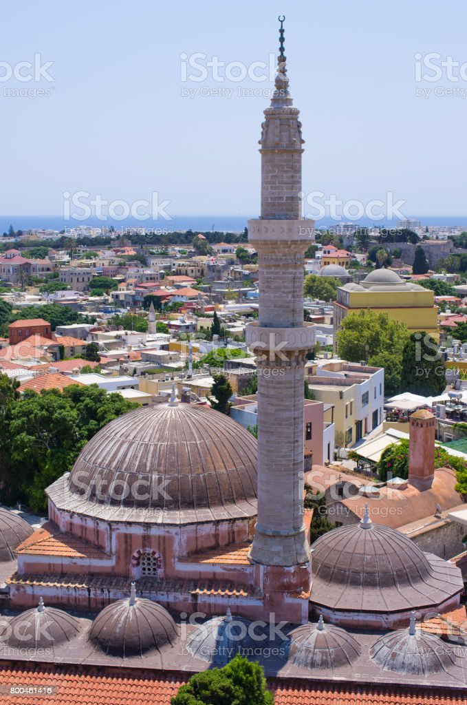 Mosque of Suleiman, Rhodes, Greece stock photo