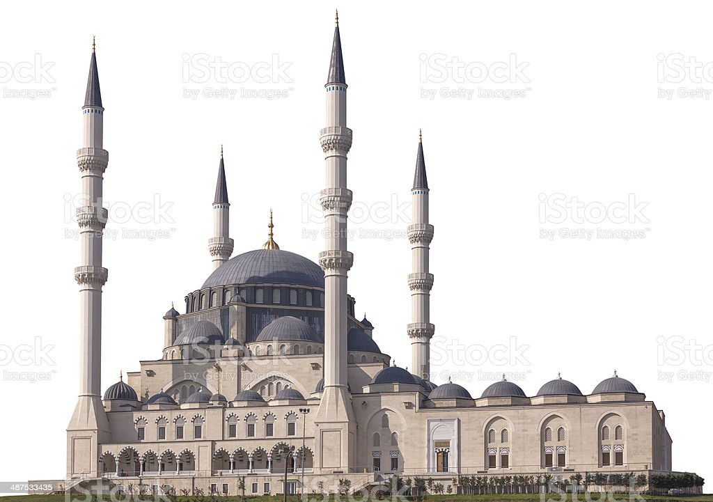Mosque on white stock photo