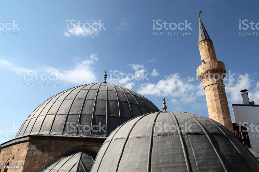 Mosque roof and minaret stock photo