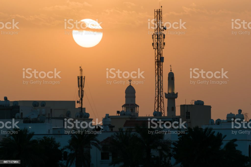 Mosque sunset stock photo