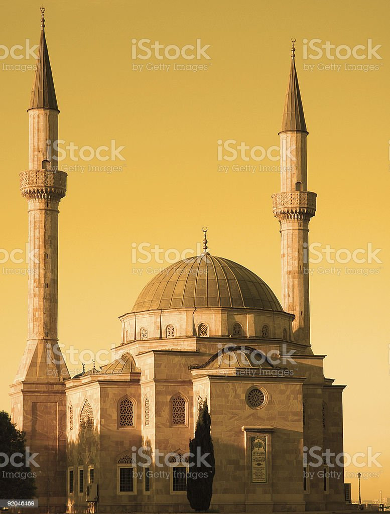Mosque with two minarets in Baku, Azerbaijan at sunset royalty-free stock photo